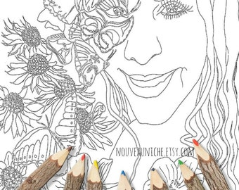 Coloring Sheet Printables Coloring Zentangle Butterfly Flower Girl Portrait Colouring Pages, Art Therapy Coloring Sheets, Instant Print