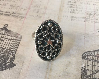 Star Oval Ring Mexico 925 Sterling Silver