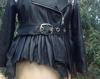 showdiva designs NEW Ruffle Leather Moto Vest Jacket with Detachable Cape