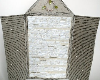 Handmade Paper Found Text Poem Altar Piece / Words Spoken