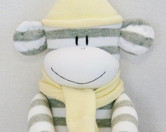 Sock Monkey Grey and White Stripes with Pale Yellow Hat and Scarf Baby Toy