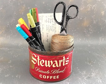 Vintage Coffee Can, Stewarts, Red, one pound, 1 lb