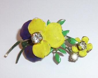 Vintage Enamel Pansy Spray Pin With Three Prong Set Rhinestones