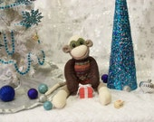 Samuel, the Traditional Red Heel Sock Monkey with a Brown Wool Sweater Stuffed Animal Toy