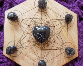 Snowflake Obsidian Crystal  Polished Heart and Six Apache Tear Stones Crystals Grid Set Bundle Grounding
