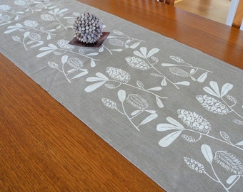 Linen Table Runner Hand Screen Printed White&Natural Australian Banksia
