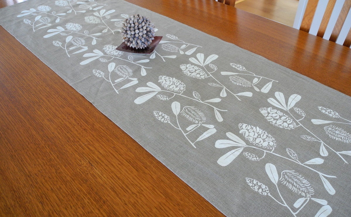 Linen Table Runner Hand Screen Printed White Amp Natural