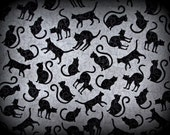 Black Cat Fabric, Gray Fabric, Half Yard, Black and Gray, Halloween Fabric, Henry Glass, Spellbound, Black and Grey, Halloween Cats, Cotton