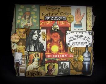 Halloween Gypsy Card, Gypsy Note Card, Gypsy Greeting Card, Fortune Teller Card, #86, Ouija, Collage Card, Black Card, Crystal Ball, Single
