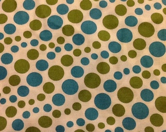Polka Dots Blue Green Quilt Fabric