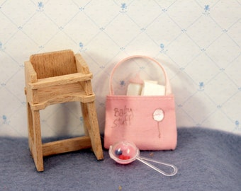 Miniature Baby High Chair and Diaper Bag Dollhouse Nursery Furniture Accessories