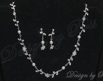 Bridal Wedding Jewelry Wedding Accessories Bride Necklace - Rhinestone Floral Swarovski Pearls Bridal Jewelry Set Bridal Necklace Earrings