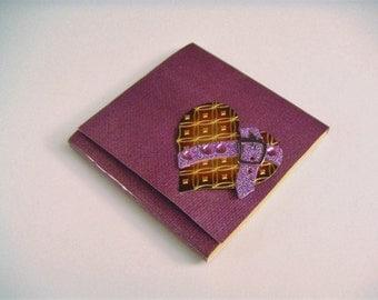 Amethyst and Orange Steampunk Heart Sticky Notes Pad