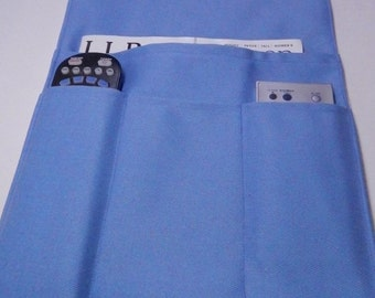 Blue Chair Caddy, Arm Chair Caddy,  Multiple Remote Organizer,  Made in USA