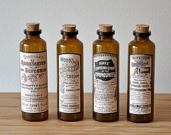 4 Apothecary Bottles