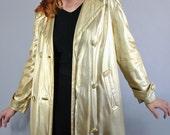 Vintage 60s Women's Gold Mod Metallic Glam Trenchcoat // Spring Jacket