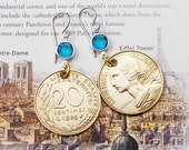 France, Vintage Coin earrings --- Parlez-Vous Français --- Marianne - Paris - French Riviera - Travel - Salvage - Repurposed - Recycled