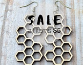 HONEYCOMB Long Earrings. laser cut wood.