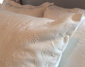 Euro Sham Candlewick Embroidered Cream Natural Cotton