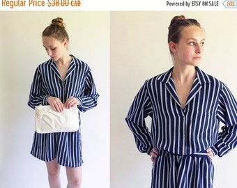 ON SALE 80s dress - striped day dress - 80s blue and white secretary dress - medium