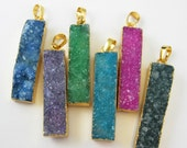 Agate Bar pendant Druzy Geode, Rainbow Agate with Gold plated dipped Style Edging-38 mm Long Bar Pendant-Geode Bar 292103