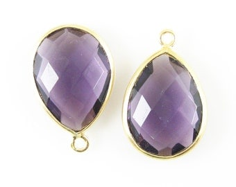 Bezel Gemstone Pendant-Amethyst Quartz-Faceted Teardrop Charm-Gold Plated Vermeil Frame-Jewelry Pendants-22mm- Sku: 201101-AMQ (1 pc)