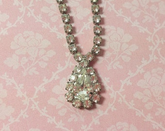 "RHINESTONE PENDANT NECKLACE, Prong Set, Closed Backs, 15 1/2"", 1960's, Vintage Sparkly Costume Jewelry"