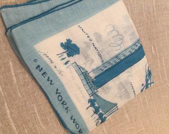 Pale Blue on White Linen/Cotton Worlds Fair New York Handkerchief