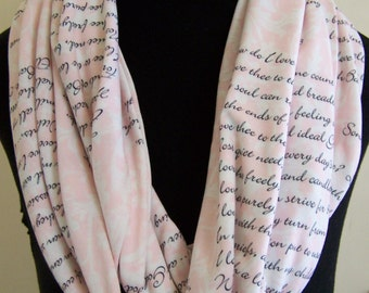 SALE Elizabeth Barrett Browning Love Poem Knit Infinity Scarf
