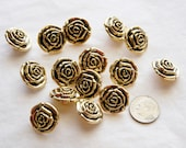 12 Gold Rose Buttons Shank Back Buttons,  Sewing, Craft (AA 96)