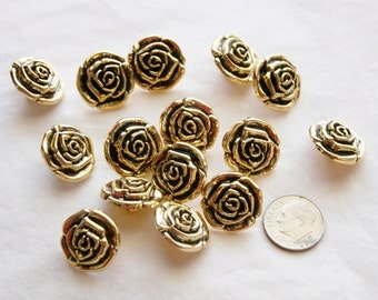 15 Gold Rose Buttons Shank Back Buttons,  Sewing, Craft (AA 96)