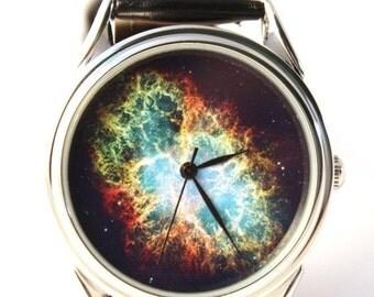 25 OFF SALE Space Watch, Vintage style leather watch, Women Watches, Boyfriend Watch, Men's watch, silver case,