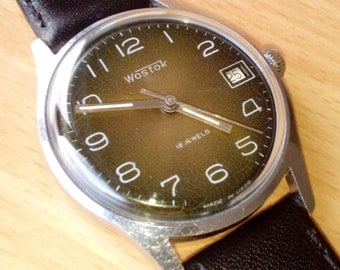 Vintage wrist watch Vostok mens watch men watch mens watch brown