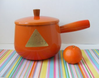 Vintage French Enameled Cast Iron, Flame Orange Saucepan Pot, Aubeco Foil Label, 1.5 Quarts