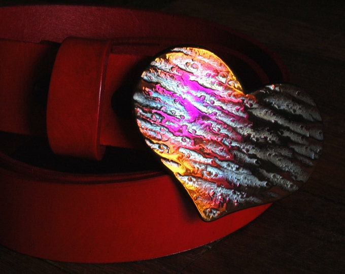 """Heart Belt Buckle Romantic Gift Hand Forged Buckle Lover's Original Pink Buckle Fits 1.5"""" Belt for Jeans Hypoallergenic Valentine Accessory"""
