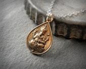 Ganesha Pendant, Sterling Silver or 14K Gold Fill Chain, Buddhist Yoga Meditation Pendant Necklace Medallion Amulet Bronze Minimalist Hindu