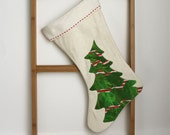 Christmas stocking, green christmas tree with red and white ribbon, organic hand painted and quilted eco friendly Christmas stocking 24