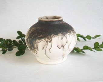 Horsehair  Burned onto Porcelain Vase - Black and White Vase - Handmade - Wheel thrown