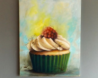 Original Cupcake with spiders  oil painting art
