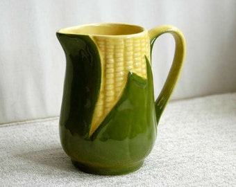 Shawnee Pottery King Corn Creamer, Ceramic Pitcher, Farmhouse Table Decor, Vintage 1940s Home Decor, Kitchen, Dining, Marked Shawnee USA #70
