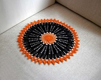 Black and Orange Crochet Lace Doily, Centerpiece, New Table Accessory, Modern Home Decor