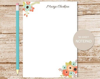 personalized floral notepad . flower note pad . floral bunch . flowers notepad . personalized stationery . botanical stationary