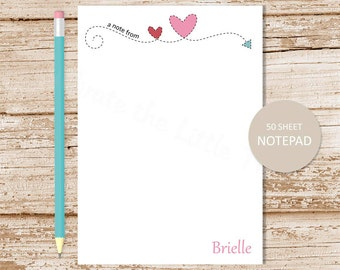 personalized notepad . stitched arrow heart notepad . arrow note pad . personalized stationery . teen stationary