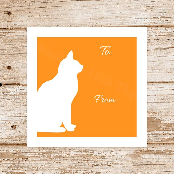 Cat Gift Tags Cat Silhouette Cat Tags Printable To From Tags