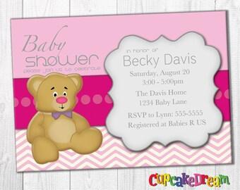 Girl Baby Shower Invitation, Teddy Bear Baby Shower