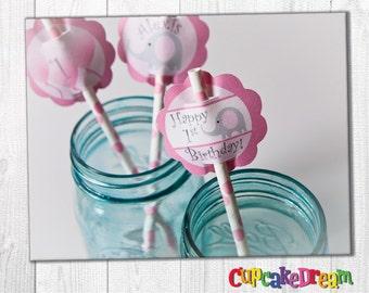 Elephant Birthday, Girl Baby Shower, Pink Polka Dot Paper Straws