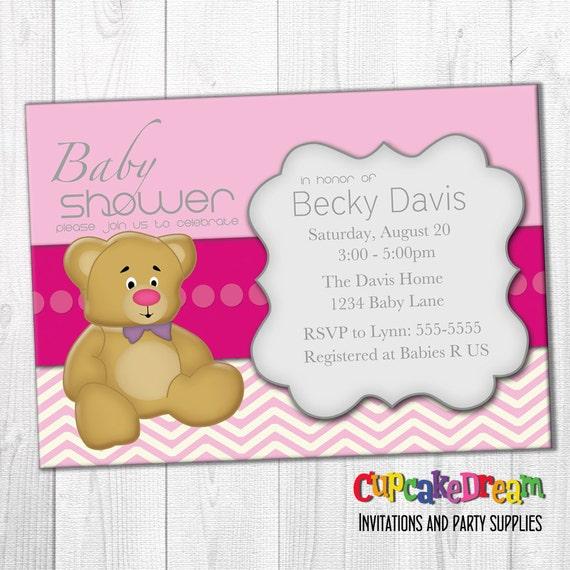Girl Baby Shower Invitation Teddy Bear Baby Shower By Cupcake Dream