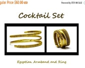 Brass Jewelry Set Armlet and Ring Egyptian Jewelry Set Wire Wrapping Jewelry Brass Arm Bracelet Golden Ring Gold Set Golden Jewelry