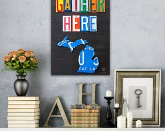 Friends Gather Here License Plate Art - Words Plus State of Your Choice Shape - Housewarming Gift Wall Decor - Custom