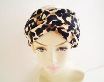 Leopard Beach Towel Headband, Cheetah Beach Towel Headband, Cheetah Turban, Leopard Turban, Swim Turban, Swimming Turban, Spa Terry Turban,
